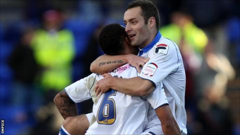 Danny Holmes is congratulated after his winning goal for Tranmere against Yeovil