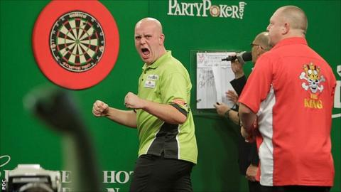Michael van Gerwen celebrates winning a leg against Mervyn King