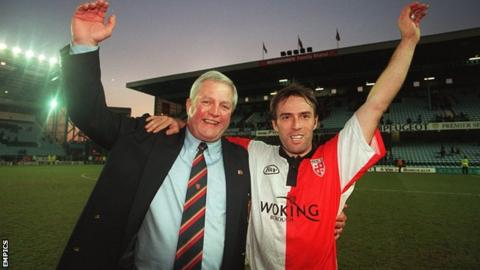 Woking boss Geoff Chapple and midfielder Steve Thompson celebrate after drawing at Coventry City in the third round of the FA Cup in 1997