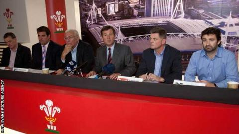 Roger Lewis and the chief executives of the four Welsh rugby regions