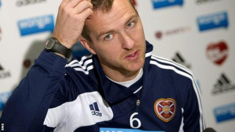 Webster talks to the media at Hearts' media conference