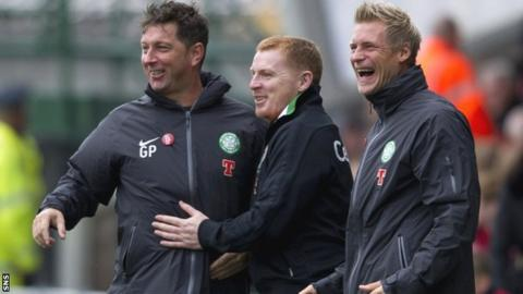 Celtic manager Neil Lennon flanked by assistants Garry Parker and Johan Mjallby