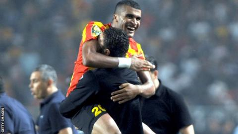 Mohamed Ben Mansour celebrates his goal for Esperance