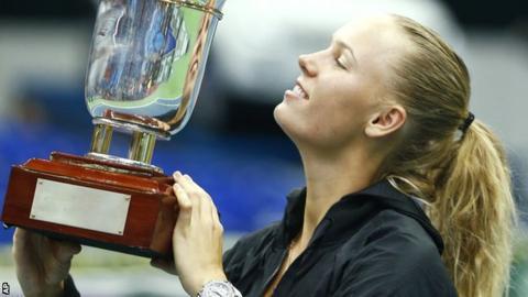 Caroline Wozniacki lifts the Kremlin Cup in Moscow