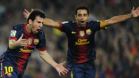 Barcelona stars Lionel Messi (left) and Xavi