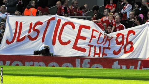 'Justice for the 96' banner