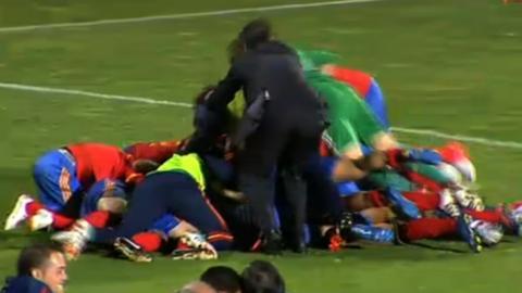 Spain's Women's national team celebrate beating Scotland