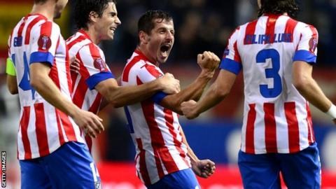Emre celebrates his Atletico Madrid goal
