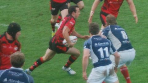 James Copsey breaks away for Jersey's second try