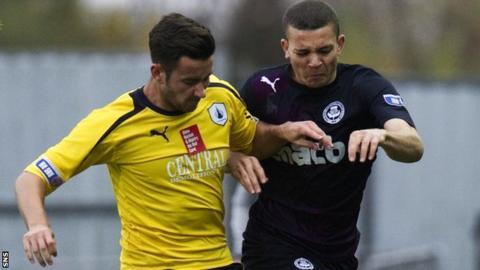 Falkirk's Jonathan Flynn (left) holds off Aaron Sinclair