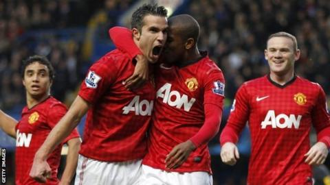 Robin Van Persie and Ashley Young celebrate