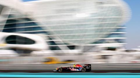 Mark Webber drives during practice for the Abu Dhabi Formula One Grand Prix at the Yas Marina Circuit