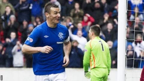 McCulloch celebrates scoring against Clyde on Sunday