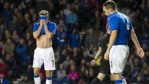 Rangers players suffer in defeat