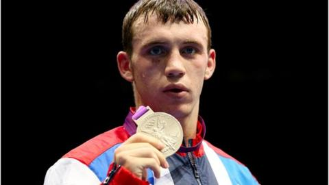 Fred Evans celebrates winning Olympic silver