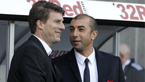 Michael Laudrup and Chelsea boss Roberto Di Matteo