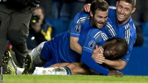 Victor Moses celebrates for Chelsea