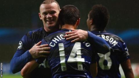 Wayne Rooney, Javier Hernandez and Anderson