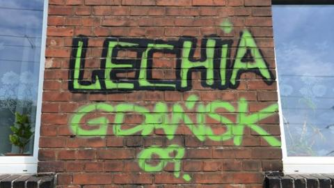 Graffitti in supprt of Polish club Lechia Gdansk