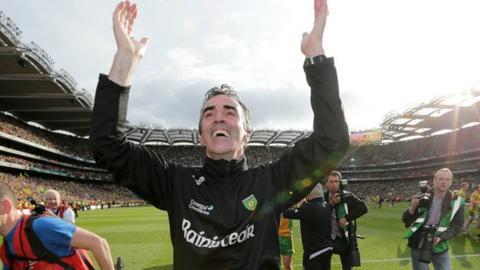 Jim McGuinness celebrates the All-Ireland triumph