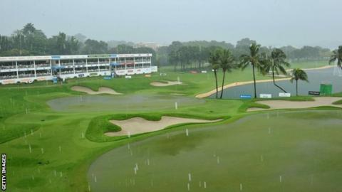 Parts of the Singapore course were flooded by rain on Friday
