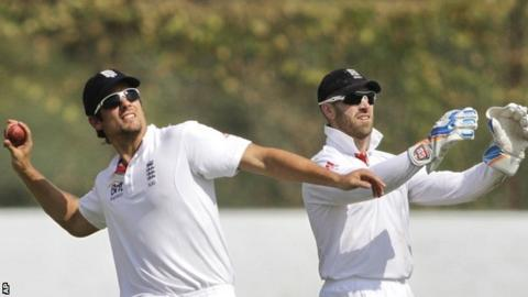 England captain Alastair Cook (left) with wicketkeeper Matt Prior