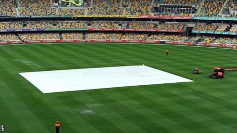 The Gabba square is protected from the rain