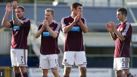 Hearts players applaud fans after 1-1 draw with Inverness Caledonian Thistle
