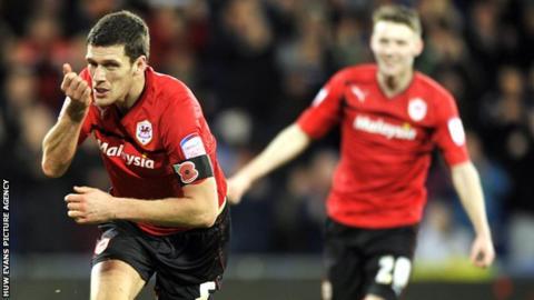 Mark Hudson celebrates after scoring Cardiff's second goal