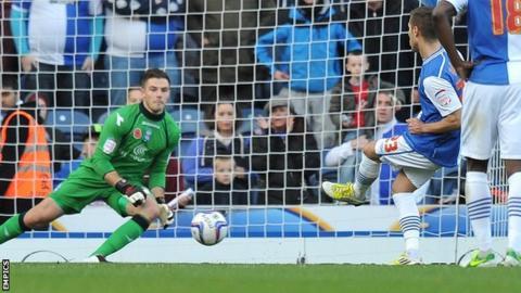 Ruben Rochina puts Blackburn ahead from the penalty spot against Birmingham