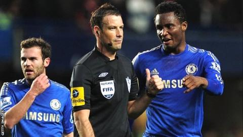 Juan Mata, Mark Clattenburg and Jon Obi Mikel
