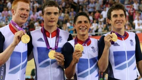Ed Clancy (left) with GB team pursuiters Steven Burke, Peter Kennaugh and Geraint Thomas at London 2012