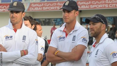 Kevin Pietersen, Stuart Broad and Matt Prior