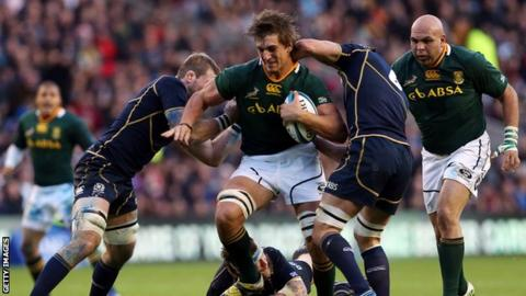 Eben Etzebeth in action at Murrayfield