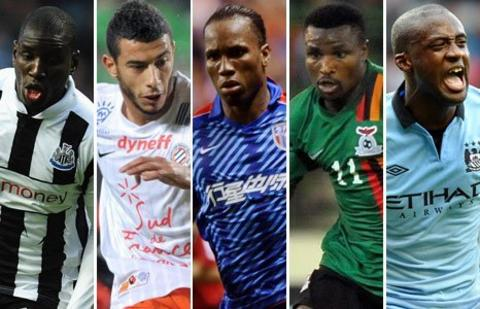 Demba Ba, Younes Belhanda, Didier Drogba, Christopher Katongo and Yaya Toure
