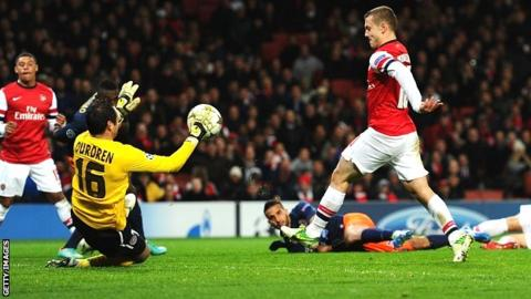 Jack Wilshere scores for Arsenal against Montpellier