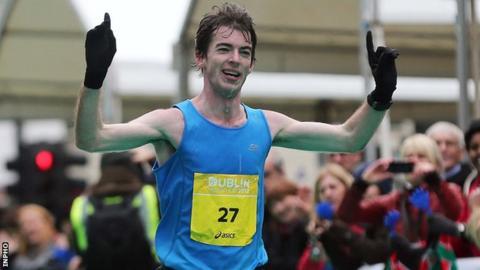 Paul Pollock crosses the line at the recent Dublin Marathon