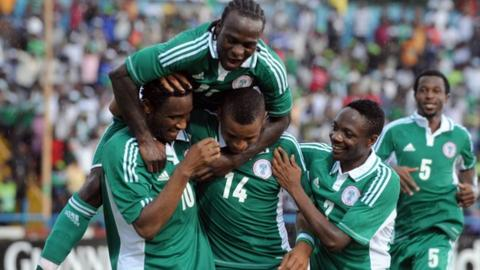 The Nigerian team in celebratory mood