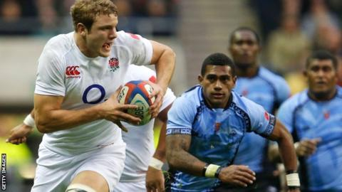 England second row Joe Launchbury in action against Fiji