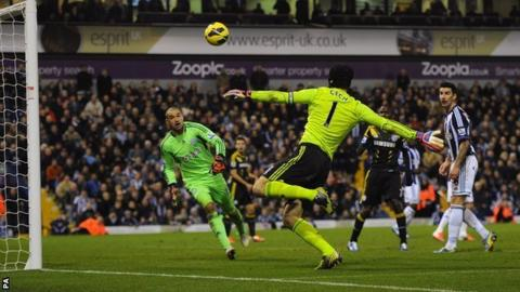 Albion keeper Boaz Myhill watches anxiously as opposite number Petr Cech fails to connect with a late chance in Chelsea's 2-1 defeat at The Hawthorns