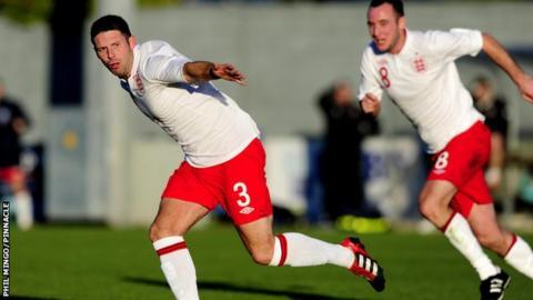 England amateur celebrate goal