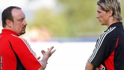 Fernando Torres and Rafael Benitez at Liverpool