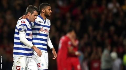 QPR's Ryan Nelsen and Armand Traore after the defeat by Southampton