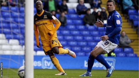 Sone Aluko (left) scoring for Hull City