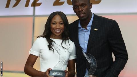 Allyson Felix and Usain Bolt