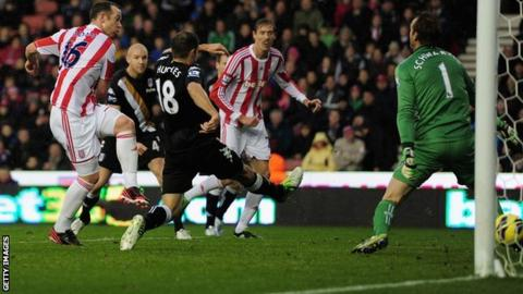 Charlie Adam (left) scores against Fulham