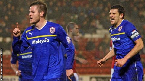 Cardiff City's Aron Gunnarsson celebrates his goal against Barnsley