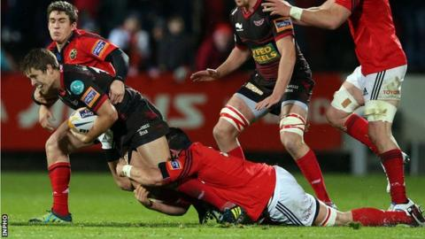 Wian du Preez tackles Aled Thomas at Musgrave Park