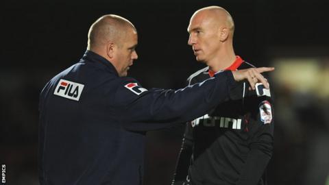 Morecambe manager Jim Bentley and winger Kevin Ellison