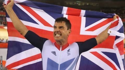 Mark Colbourne celebrates after winning a track C1 3km Individual Pursuit gold medal at the 2012 Paralympic Games